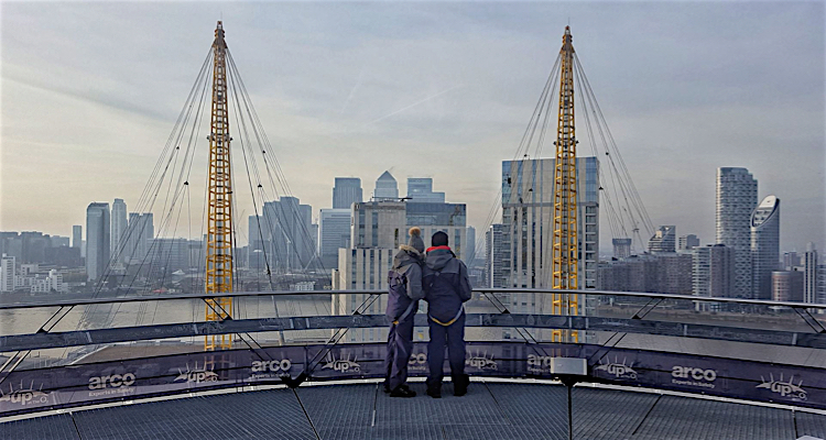 A romantic walk...over the roof of the O2 dome. Don't forget your sturdy boots!