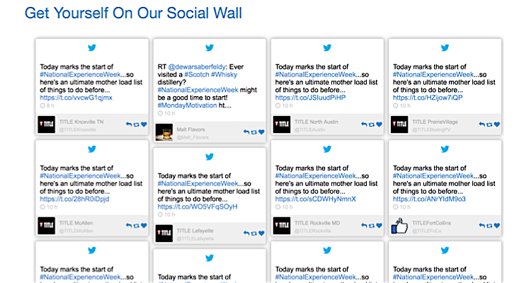 National Experience Week social wall