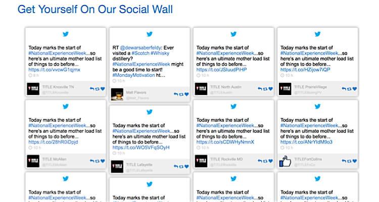 National Experience Week social wall