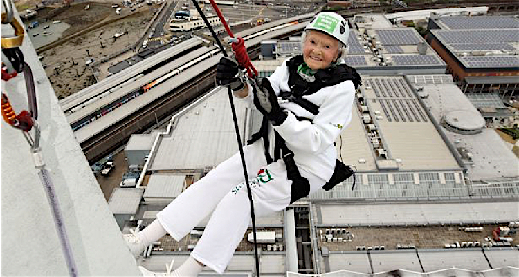 Doris abseiling down the Spinnaker Tower in Portsmouth - the person to have achieved such a feat!