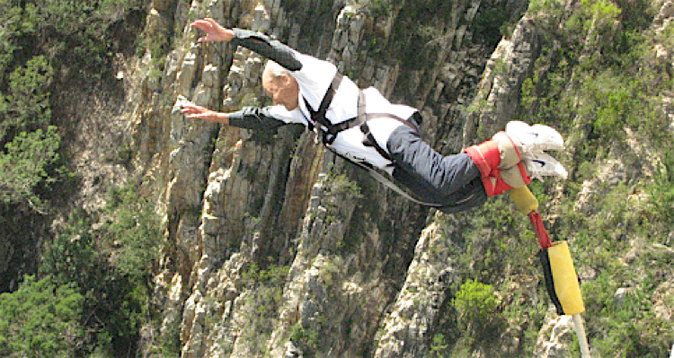 Mohr takes the leap of faith  at 96 years old - one, two, miss a few, 96 bungeeeee!