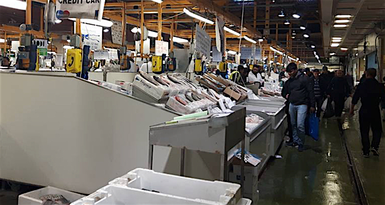On the market floor of Billingsgate early in the morning