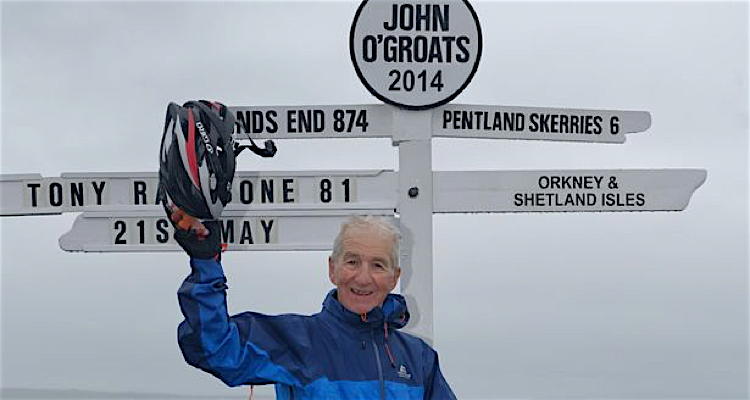 Tony clinched the record for the oldest person to ride from Land's End to John o'Groats