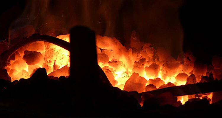 Blacksmith red hot iron