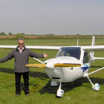 man with white microlight