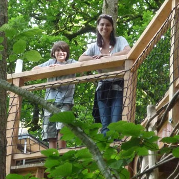 Mother and son at tree house