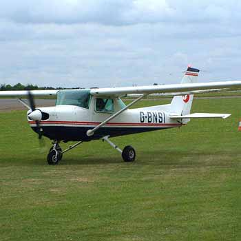 red and black Cessna 152