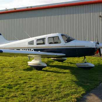 back and white Piper PA28 Warrior II