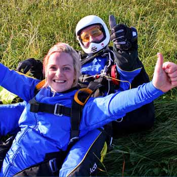 woman after skydive