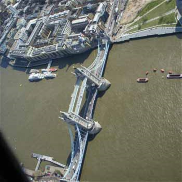 view of london from helicopter