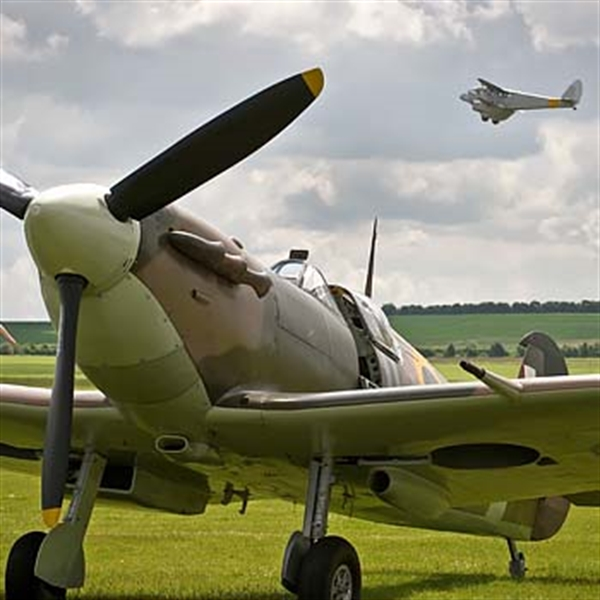 Spitfire on the ground and flying